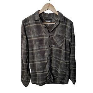Warehouse One Flannel Plaid Button Down Grey Top